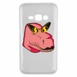 Чохол для Samsung J1 2016 Pink dinosaur with glasses head