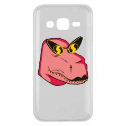Чохол для Samsung J2 2015 Pink dinosaur with glasses head