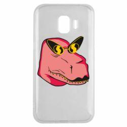 Чохол для Samsung J2 2018 Pink dinosaur with glasses head