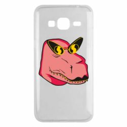 Чохол для Samsung J3 2016 Pink dinosaur with glasses head