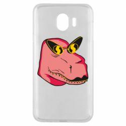 Чохол для Samsung J4 Pink dinosaur with glasses head