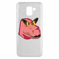Чохол для Samsung J6 Pink dinosaur with glasses head