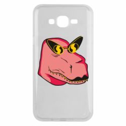 Чохол для Samsung J7 2015 Pink dinosaur with glasses head
