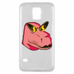 Чохол для Samsung S5 Pink dinosaur with glasses head