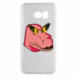 Чохол для Samsung S6 EDGE Pink dinosaur with glasses head