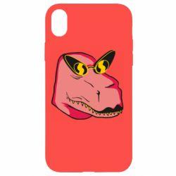 Чохол для iPhone XR Pink dinosaur with glasses head