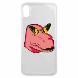 Чохол для iPhone Xs Max Pink dinosaur with glasses head