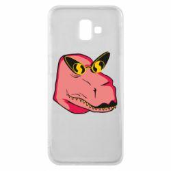 Чохол для Samsung J6 Plus 2018 Pink dinosaur with glasses head