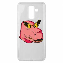 Чохол для Samsung J8 2018 Pink dinosaur with glasses head