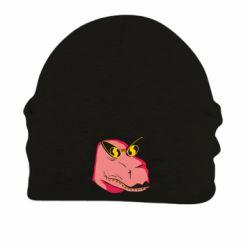 Шапка на флісі Pink dinosaur with glasses head