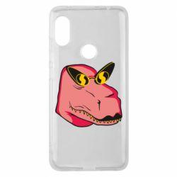 Чехол для Xiaomi Redmi Note 6 Pro Pink dinosaur with glasses head