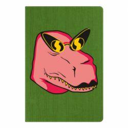 Блокнот А5 Pink dinosaur with glasses head