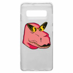 Чохол для Samsung S10+ Pink dinosaur with glasses head