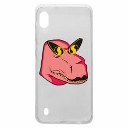 Чохол для Samsung A10 Pink dinosaur with glasses head