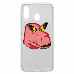 Чохол для Samsung A20 Pink dinosaur with glasses head