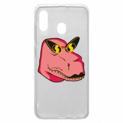Чохол для Samsung A30 Pink dinosaur with glasses head