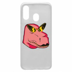 Чохол для Samsung A40 Pink dinosaur with glasses head