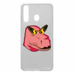 Чохол для Samsung A60 Pink dinosaur with glasses head