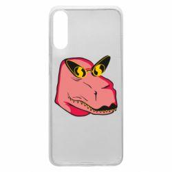 Чохол для Samsung A70 Pink dinosaur with glasses head