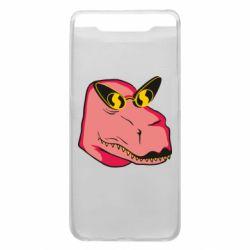 Чохол для Samsung A80 Pink dinosaur with glasses head