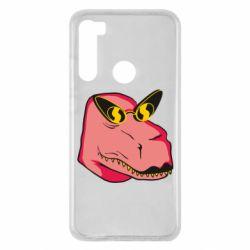Чехол для Xiaomi Redmi Note 8 Pink dinosaur with glasses head