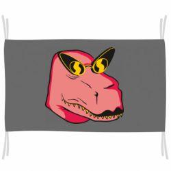 Прапор Pink dinosaur with glasses head