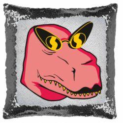Подушка-хамелеон Pink dinosaur with glasses head