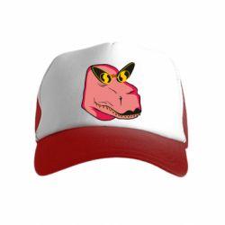 Дитяча кепка-тракер Pink dinosaur with glasses head