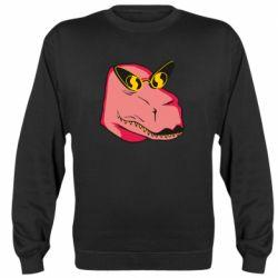Реглан (світшот) Pink dinosaur with glasses head