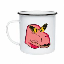 Кружка емальована Pink dinosaur with glasses head