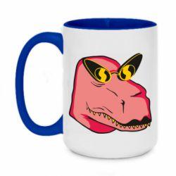 Кружка двоколірна 420ml Pink dinosaur with glasses head