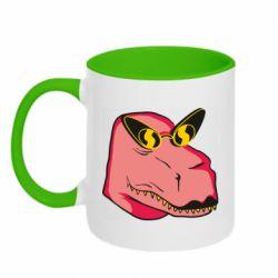 Кружка двоколірна 320ml Pink dinosaur with glasses head