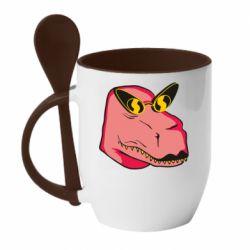 Кружка з керамічною ложкою Pink dinosaur with glasses head