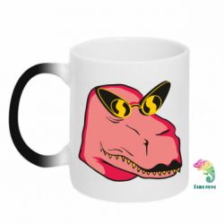 Кружка-хамелеон Pink dinosaur with glasses head