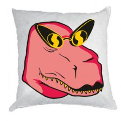 Подушка Pink dinosaur with glasses head
