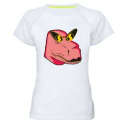 Жіноча спортивна футболка Pink dinosaur with glasses head