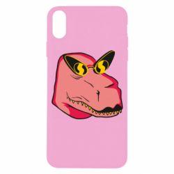 Чохол для iPhone X/Xs Pink dinosaur with glasses head