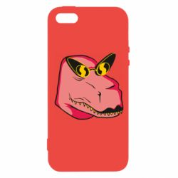 Чохол для iphone 5/5S/SE Pink dinosaur with glasses head