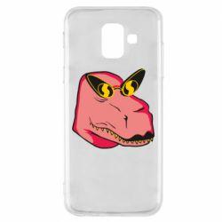 Чохол для Samsung A6 2018 Pink dinosaur with glasses head
