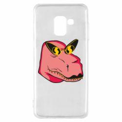 Чохол для Samsung A8 2018 Pink dinosaur with glasses head