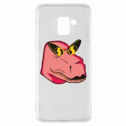 Чохол для Samsung A8+ 2018 Pink dinosaur with glasses head