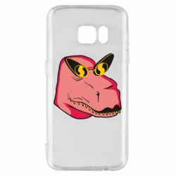 Чохол для Samsung S7 Pink dinosaur with glasses head