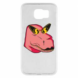 Чохол для Samsung S6 Pink dinosaur with glasses head