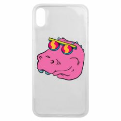 Чехол для iPhone Xs Max Pink dinosaur with glasses