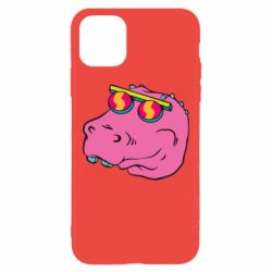 Чехол для iPhone 11 Pro Max Pink dinosaur with glasses