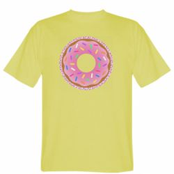 Мужская футболка Pink donut on a background of patterns