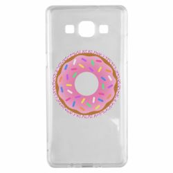 Чохол для Samsung A5 2015 Pink donut on a background of patterns