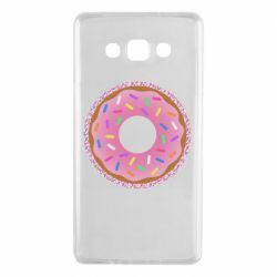 Чохол для Samsung A7 2015 Pink donut on a background of patterns