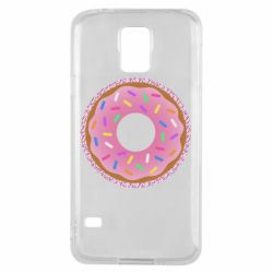 Чохол для Samsung S5 Pink donut on a background of patterns