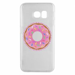 Чохол для Samsung S6 EDGE Pink donut on a background of patterns
